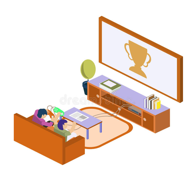 Two school kids playing video games together. concep stock images