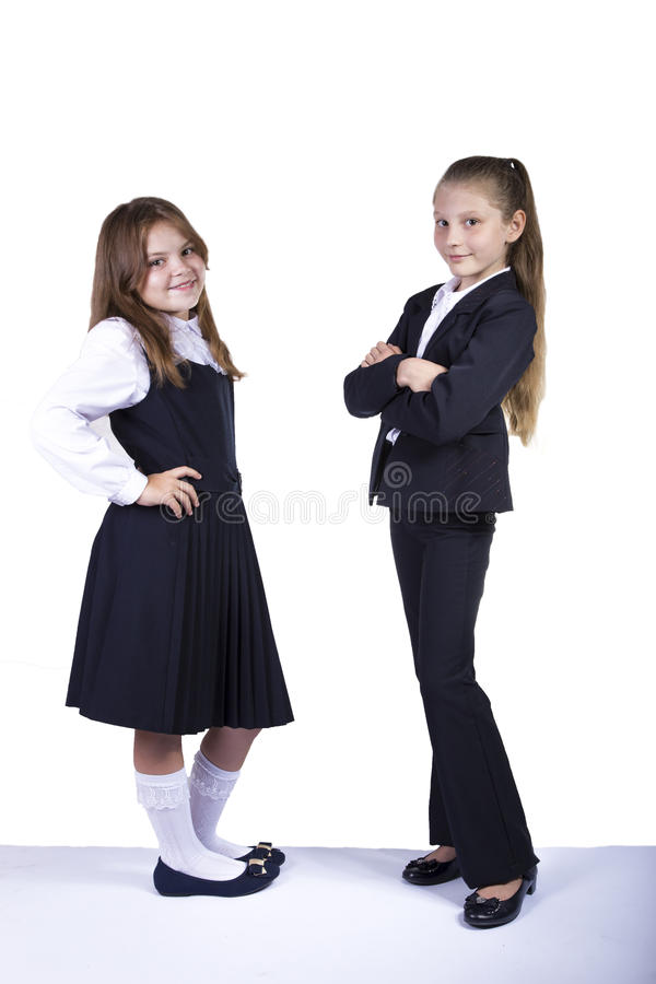 Two Schoolgirls royalty free stock image