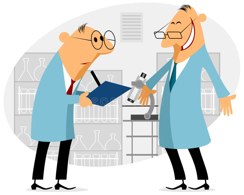 Two scientist talking. Vector illustration of a two scientist talking vector illustration