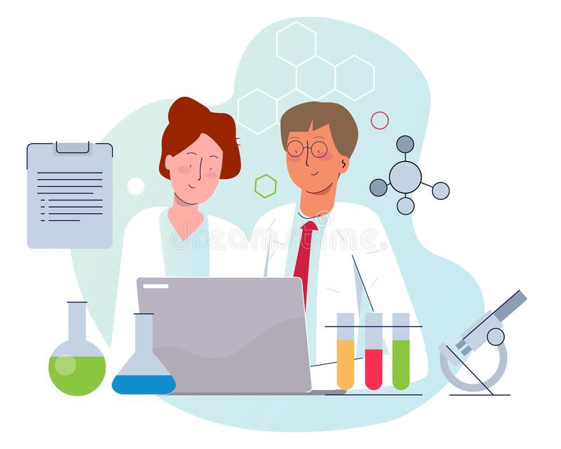 Two scientist working on lab wearing white laboratory uniform. Male and female working together with laptop microscope stock image