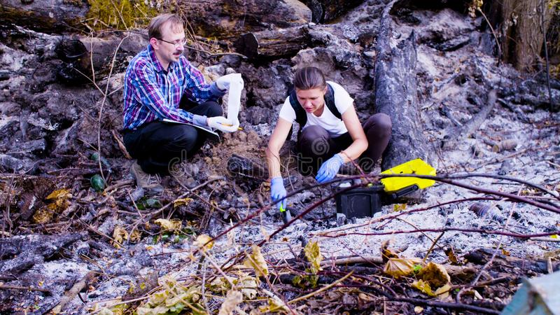 Two scientists ecologists working on place where the forest burned down. Two scientists ecologists working at the place where the forest burned down. Woman is stock images