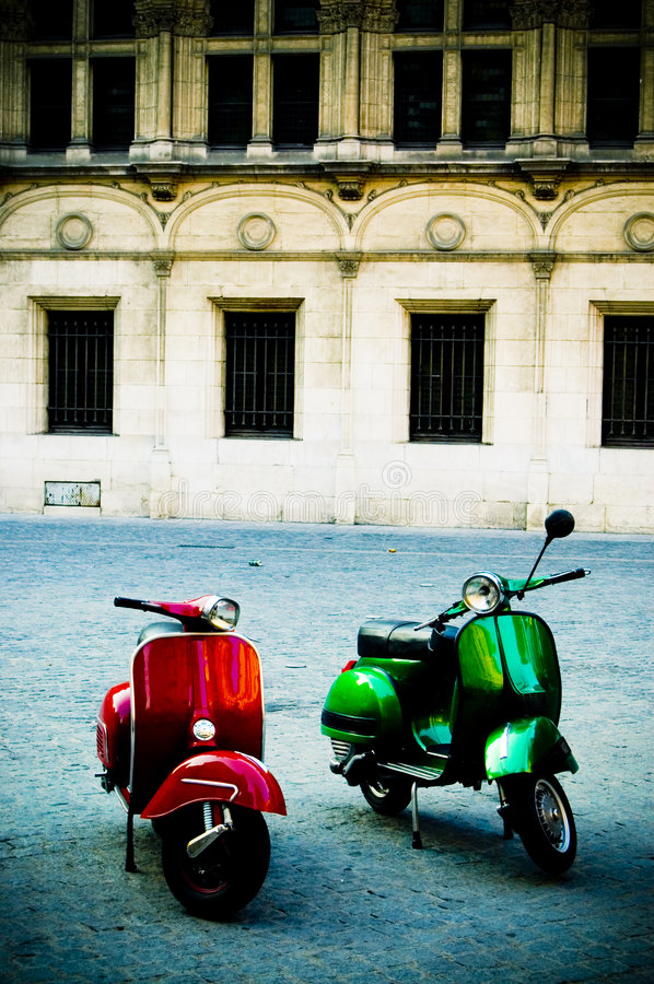 Download Two Scooters stock image. Image of cycle, vignette, moped - 2303197