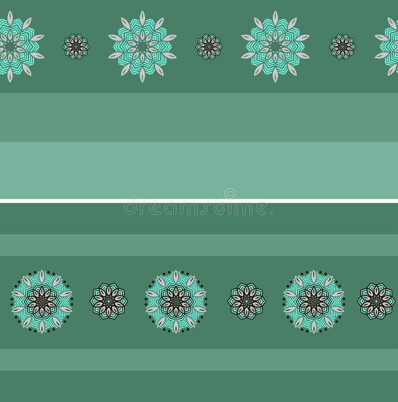 Two seamless border with mandalas royalty free illustration
