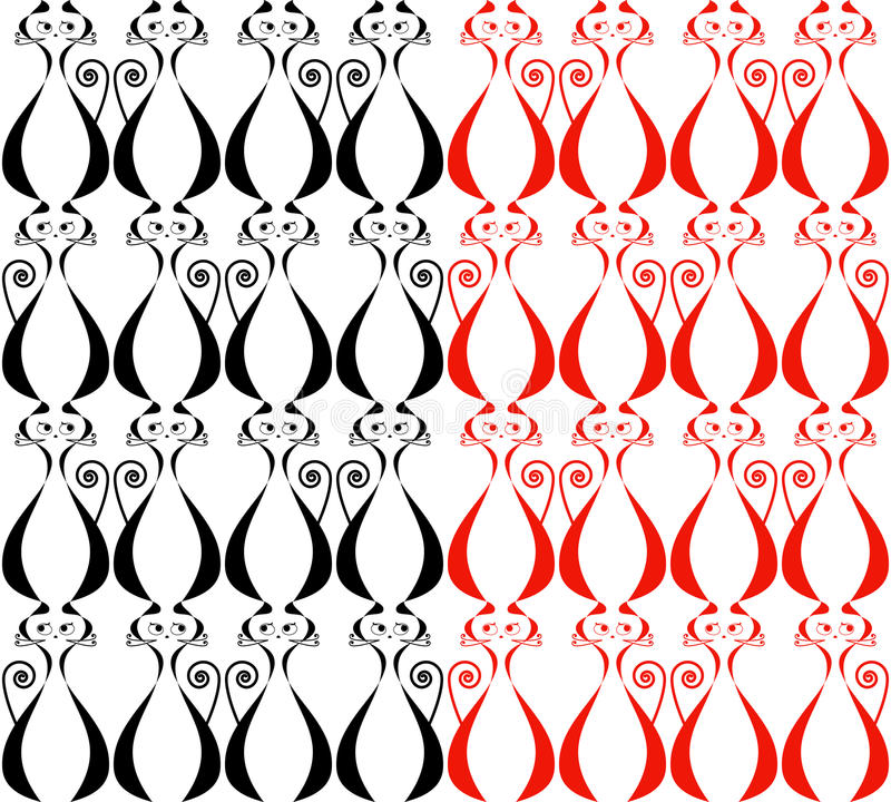 Two seamless patterns with cats stock image