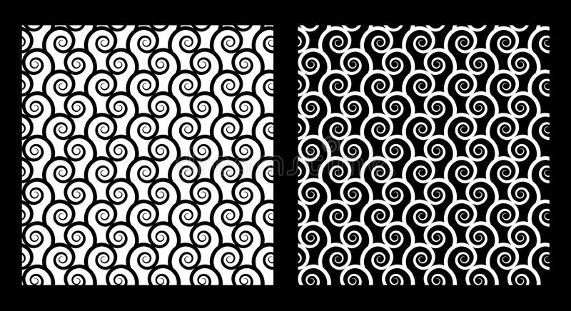 Two seamless patterns with spirals. In black and white. EPS8 vector vector illustration