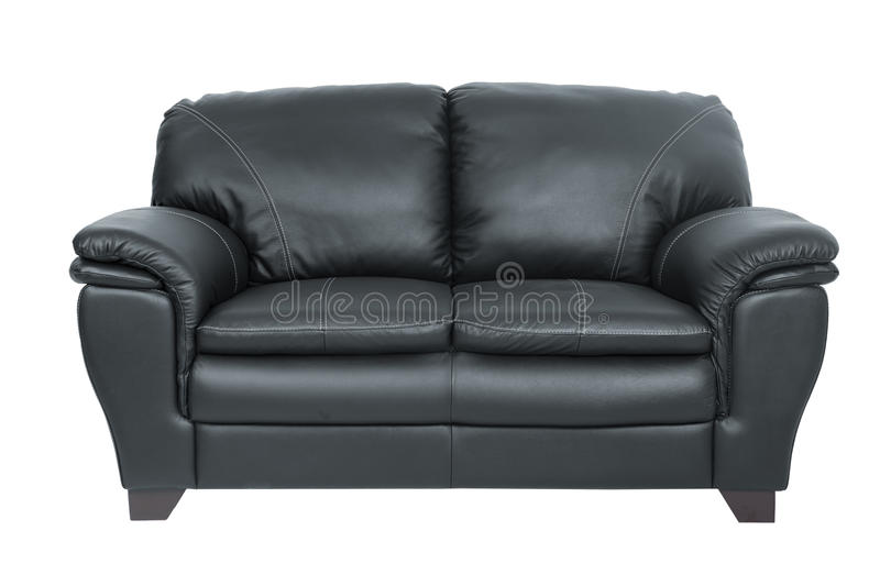 Two seats cozy black leather. Sofa isolated on white background royalty free stock images