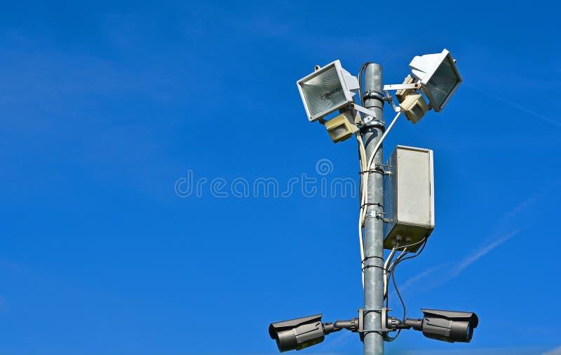 Two security cameras stock photos