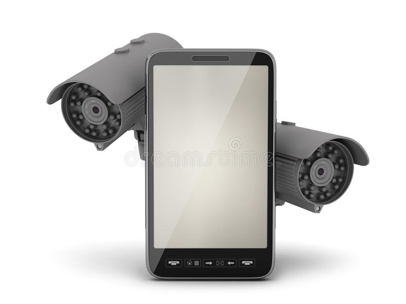 Two security cameras and mobile phone. On white background royalty free illustration