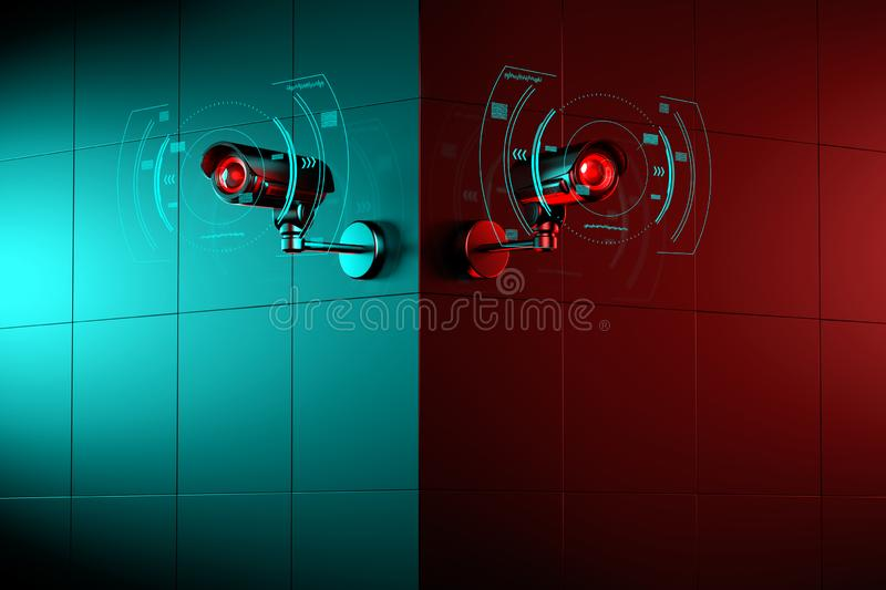 Two security CCTV cameras with futuristic interface surrounding it, as they scan for violation. 3D rendering. Two security CCTV cameras with futuristic interface vector illustration