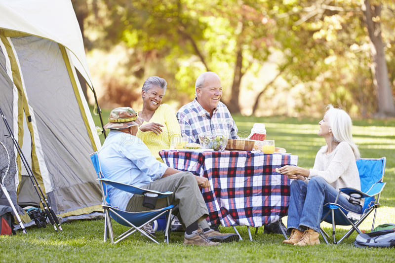 Download Two Senior Couples Enjoying Camping Holiday Stock Image - Image: 38637363