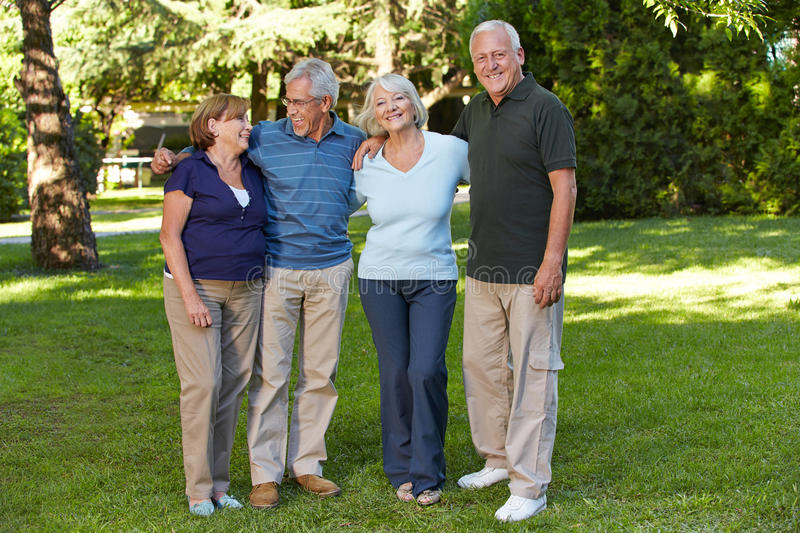 Two senior couples in retirement stock photo