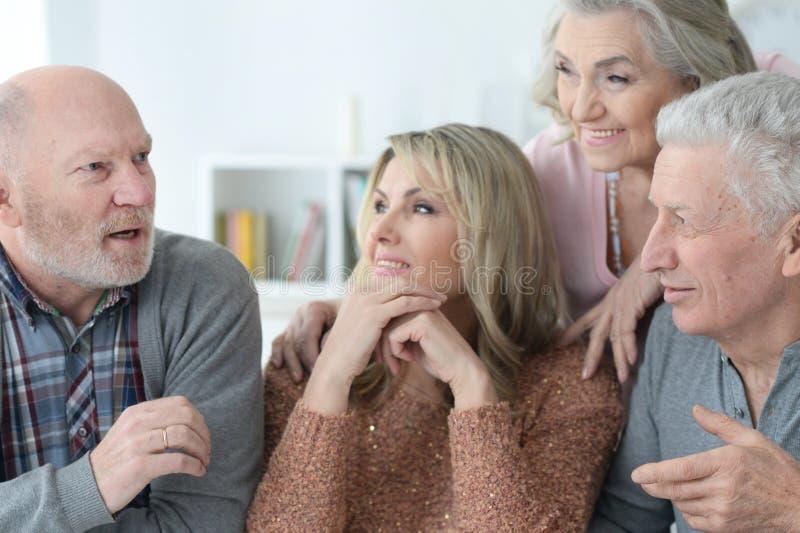 Senior couples using laptop stock photography