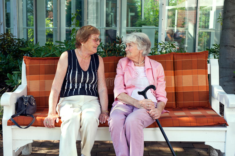 Two senior ladies enjoying a relaxing chat. Two senior ladies enjoying a relaxing Chat, sitting together on a wooden bench outdoors in the shade of a tree stock photos