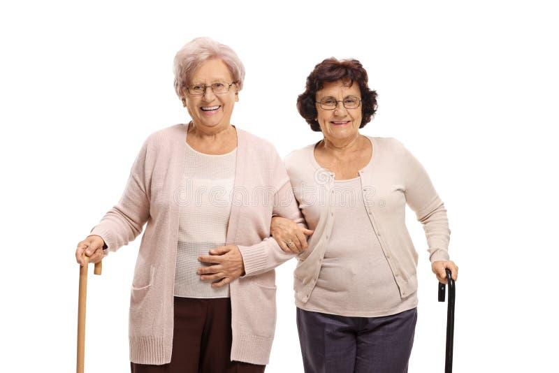 Two senior women with walking canes. Isolated on white background stock photos