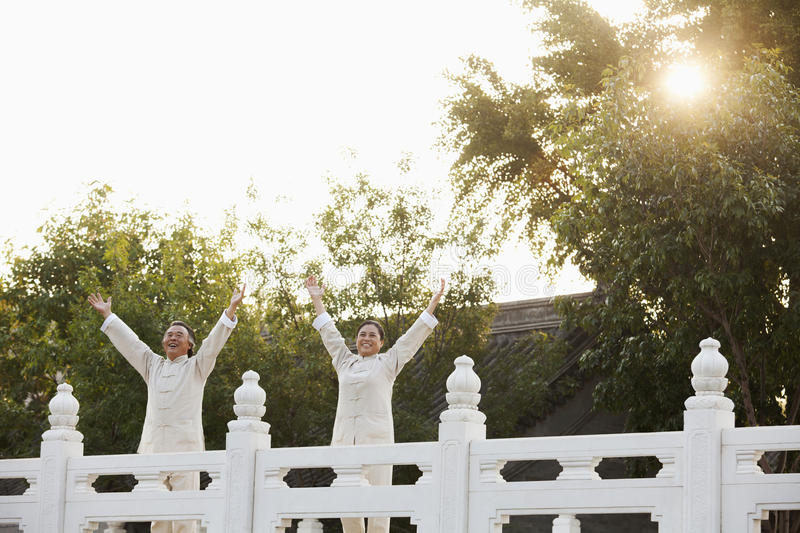 Two seniors practicing Taijiquan in Beijing, Arms outstretched royalty free stock photos