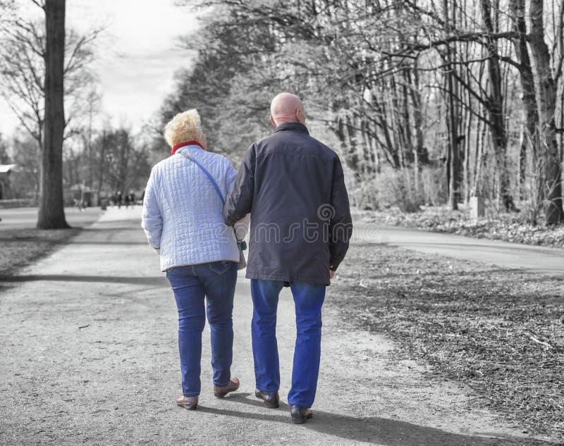 Two seniors  walking in spring park stock photos