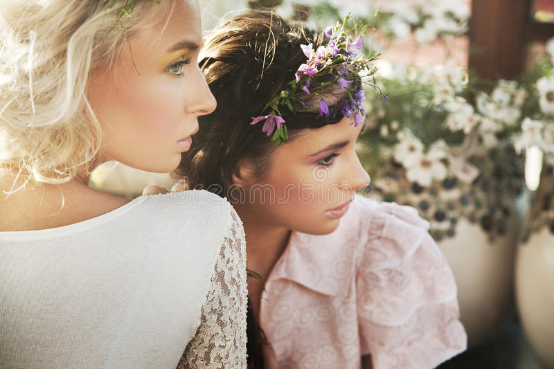 two sensual nymphs royalty free stock image