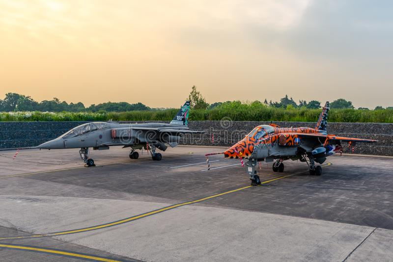 Two SEPECAT Jaguars stand retired from active service royalty free stock photo