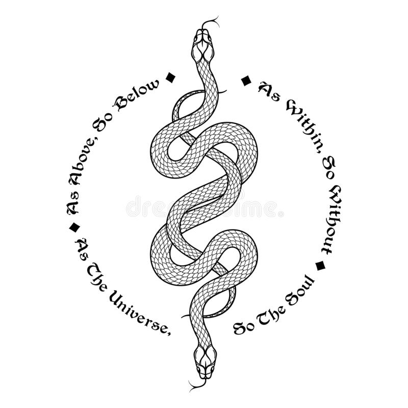 Free Two Serpents Intertwined. Inscription Is A Maxim In Hermeticism And Sacred Geometry. As Above, So Below. Tattoo, Poster Royalty Free Stock Images - 172870049