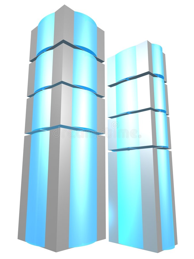 Two server towers with blue glass stock illustration