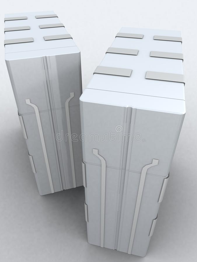 Two servers in light grey royalty free stock images