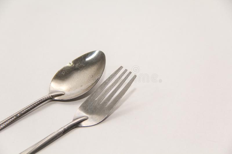Steel Spoon Set isolated on white background royalty free stock photo
