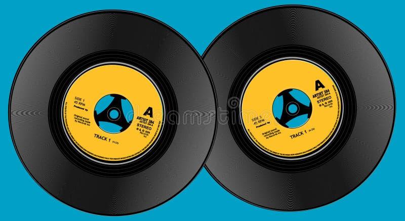 Two seven inch viynl records stock illustration