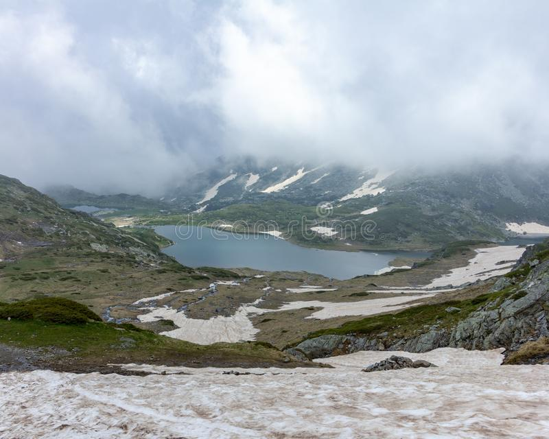 View of two of the Seven Rila Lakes in Bulgaria royalty free stock photography