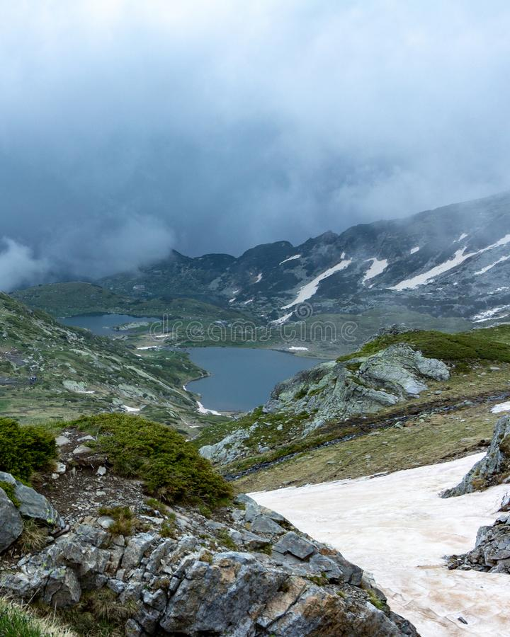 View of two of the Seven Rila Lakes in Bulgaria royalty free stock photo