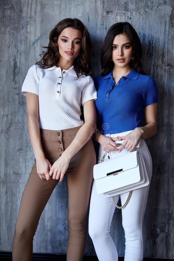 Two sexy beautiful woman fashion glamour model brunette hair makeup wear silk blouse trousers clothes for every day casual party stock image