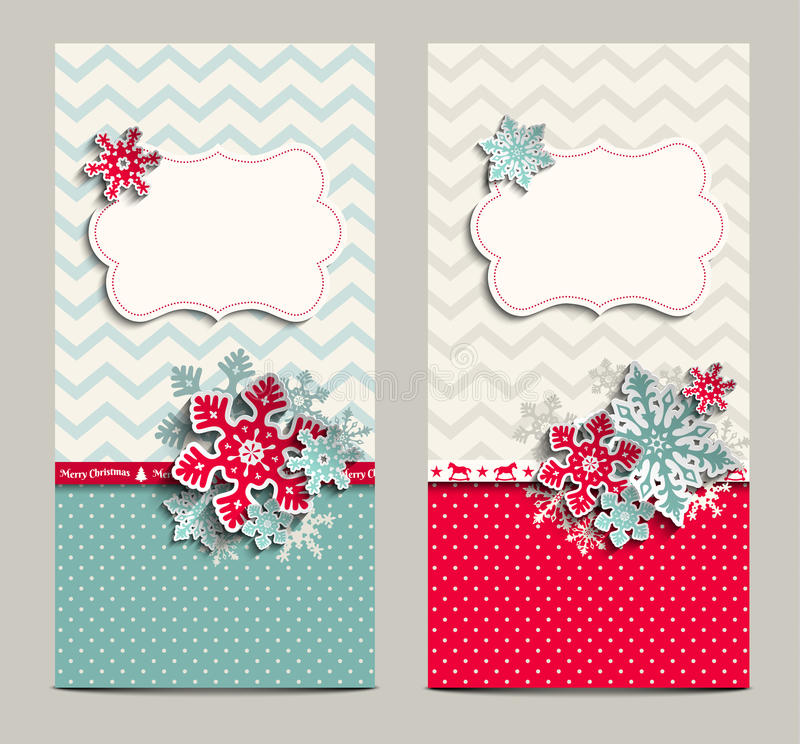 Two shabby chic cards, can be used as christmas. Two greeting cards in shabby chic style with abstract snowflakes, can be used as christmas background, vector vector illustration