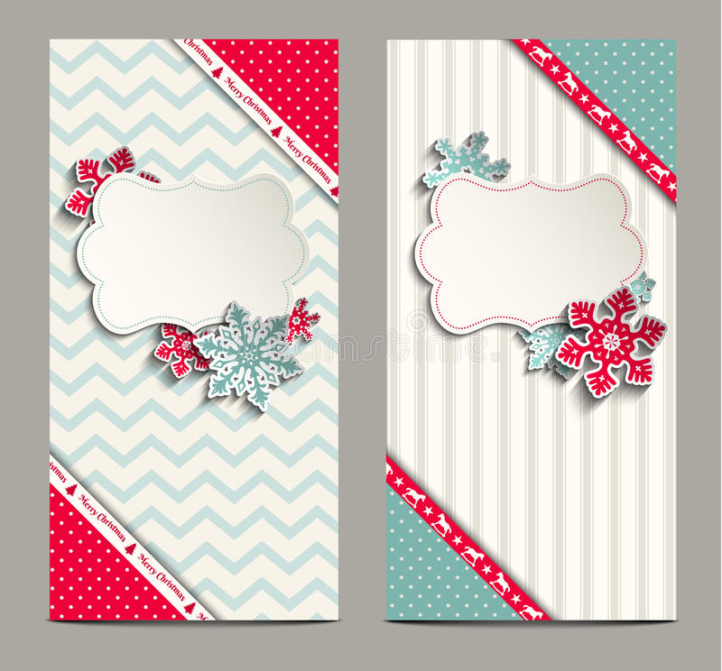 Two shabby chic cards, can be used as christmas. Two greeting cards in shabby chic style with abstract snowflakes, can be used as christmas background, vector royalty free illustration