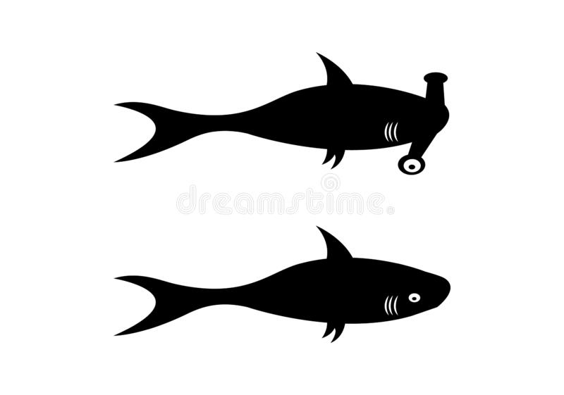 Two shark silhouettes on white background royalty free illustration