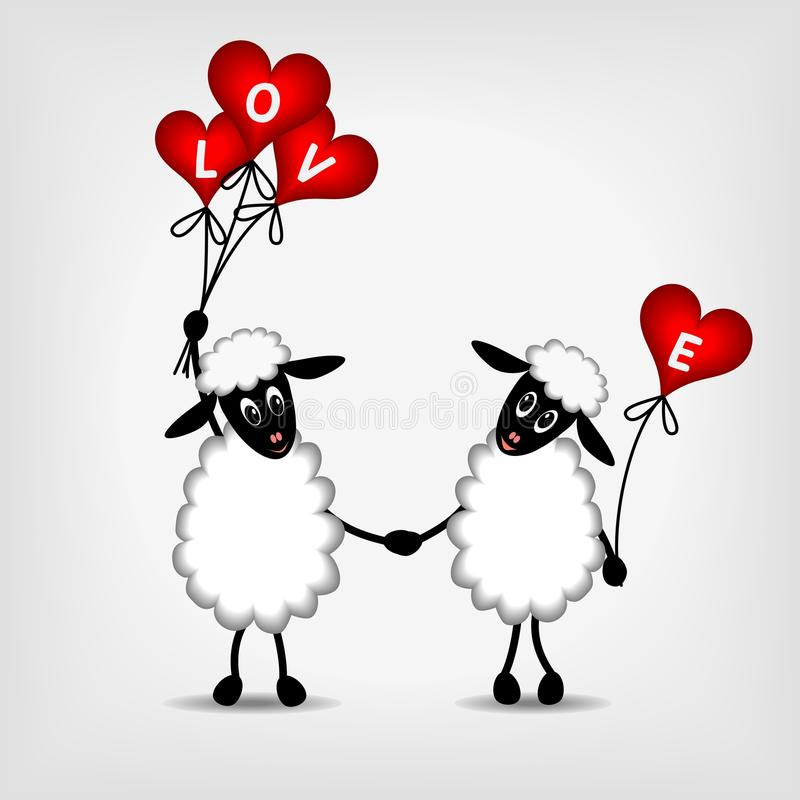 Two sheep in love with red hearts - balloons vector illustration