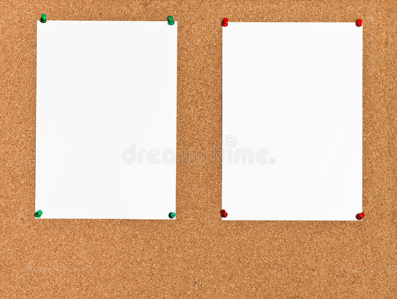download two sheets of paper on cork board stock image image