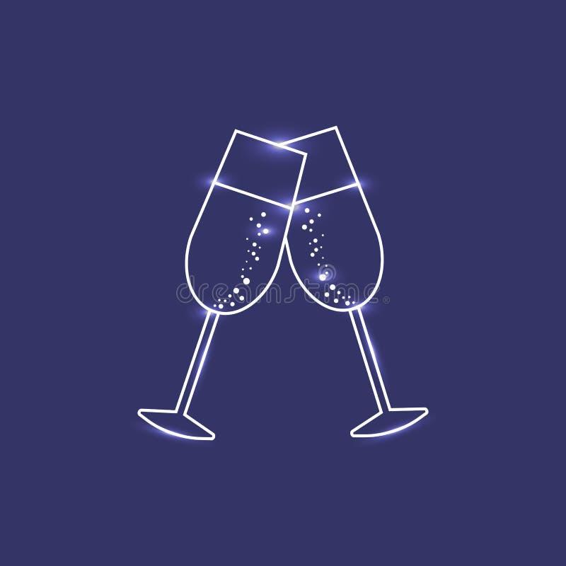 Two shining champagne glasses stock illustration