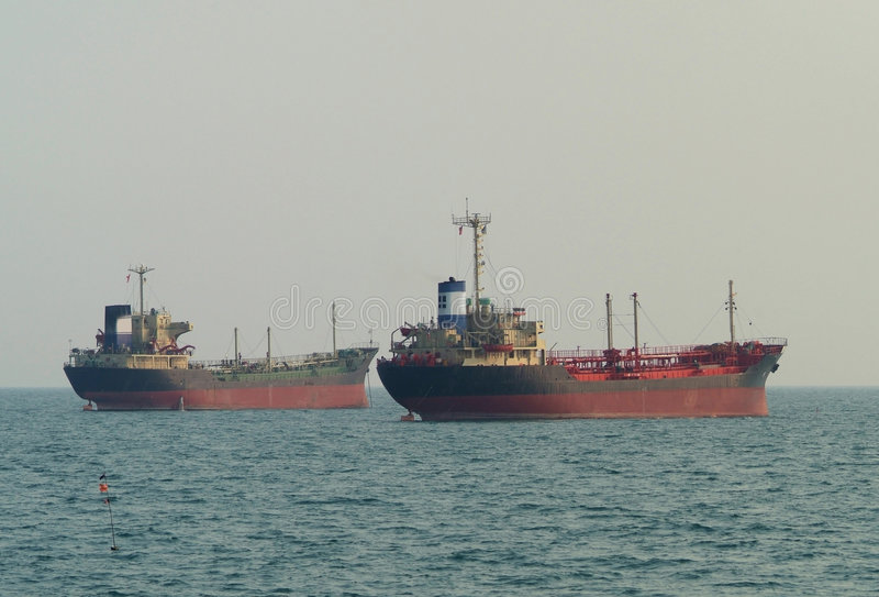 Download Two ships at anchor stock image. Image of water, tanker - 1866413