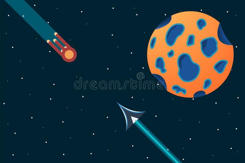 Two ships fly at each other. Alien ship and the space. Collision of two ships. Spacecraft in the space near the planet. Adventure vector illustration