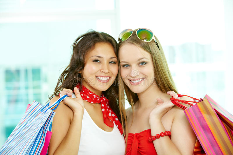 Two shoppers royalty free stock image