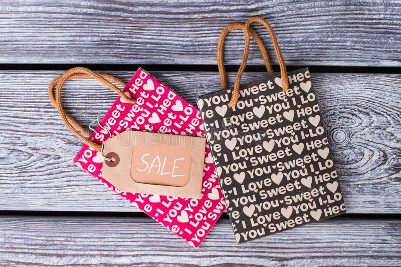 Two shopping bags with Valentine holiday printing. stock images