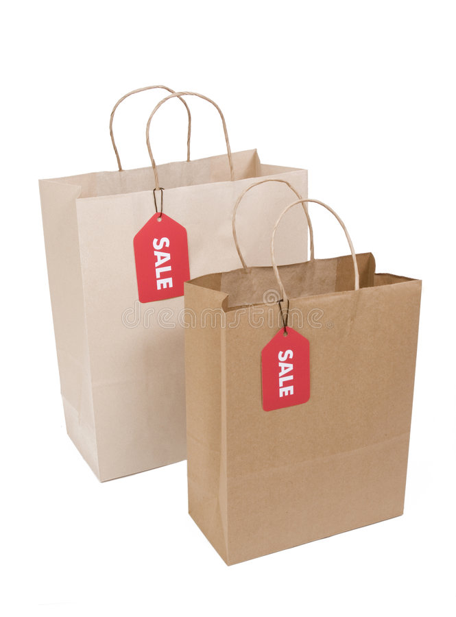 Free Two Shopping Bags With SALE Tag Stock Images - 6328694