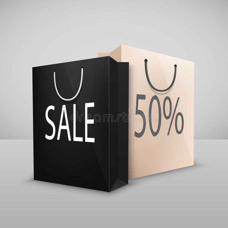 Free Two Shopping Bags With Written Sale Royalty Free Stock Images - 49541609