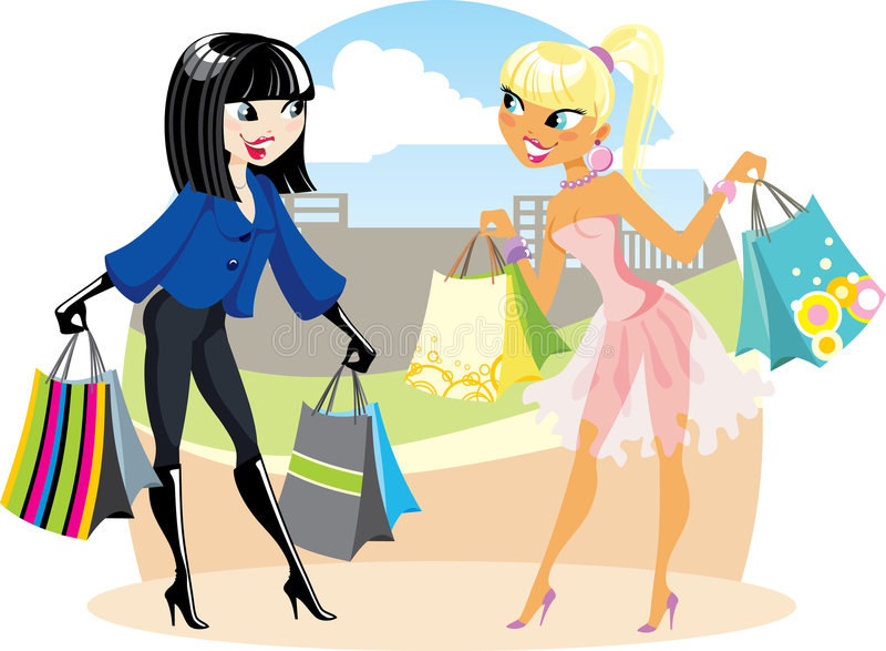 Two shopping girls vector illustration