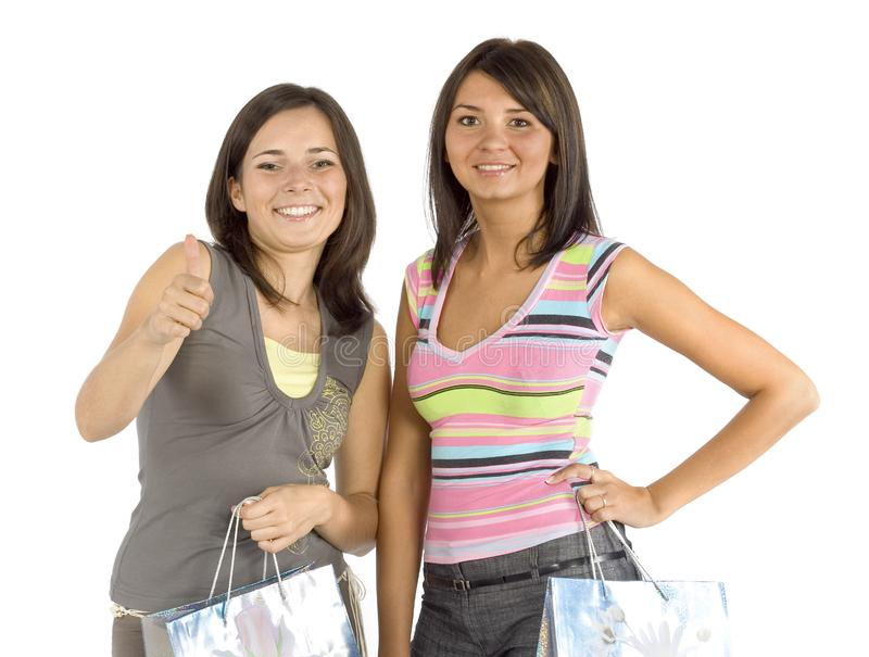 Two shopping women stock image