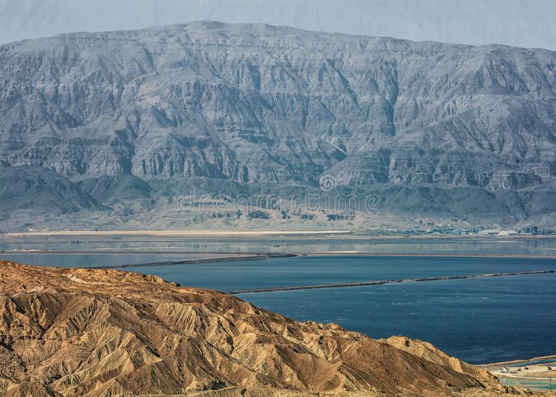 Two shores of the Dead Sea stock image