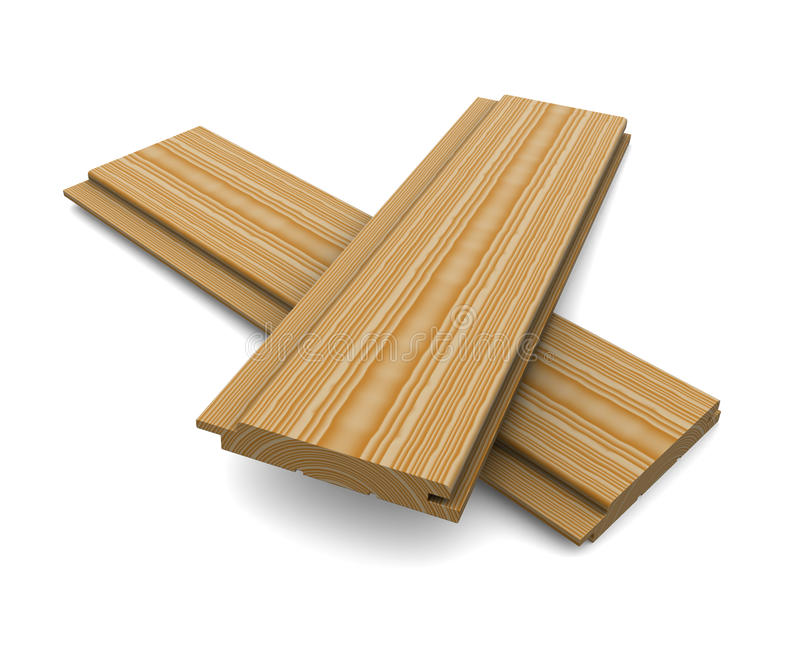 Two short wooden planks on a white background stock illustration