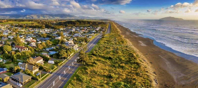 Two shot aerial panorama of Otaki beach stock image
