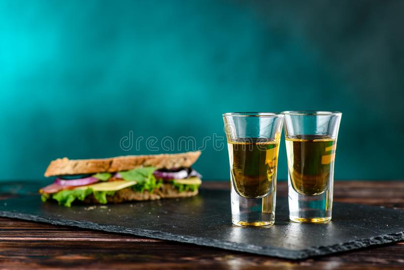 Two shots of strong alcohol royalty free stock image