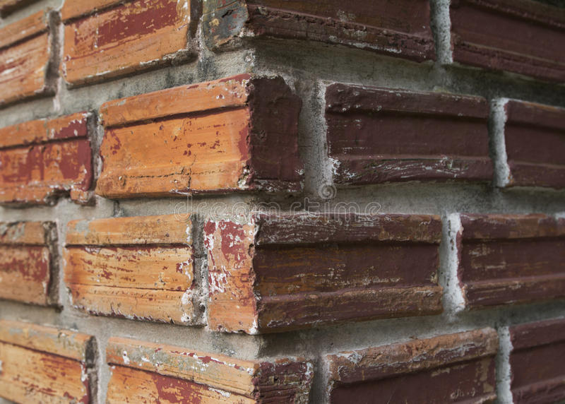 Two side of vertical brick column royalty free stock photo