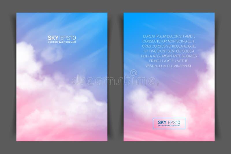 Two-sided κάθετο ιπτάμενο a4 του σχήματος με το ρεαλιστικό ρόδινος-μπλε ουρανό απεικόνιση αποθεμάτων